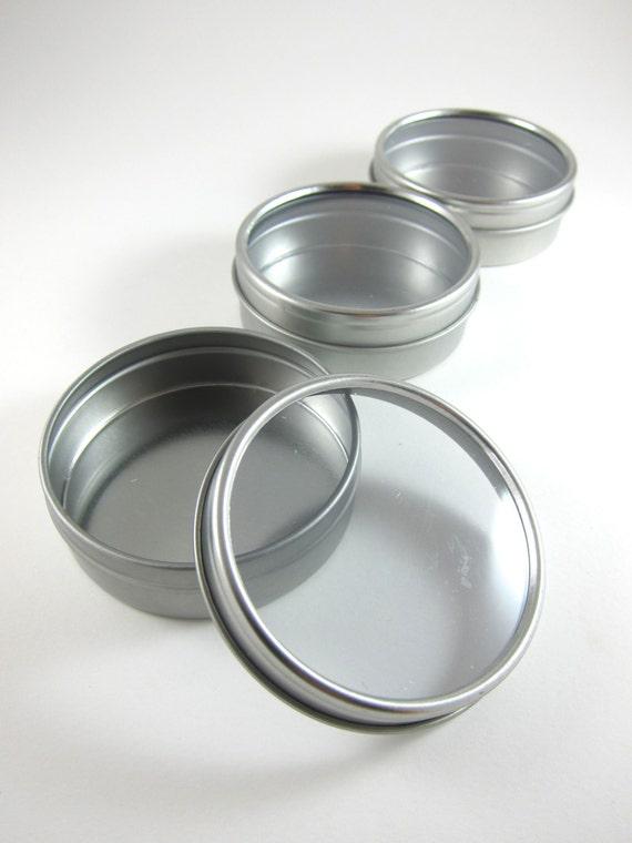 3 window round steel tin cans 2 oz favor boxes metal for Small tin containers