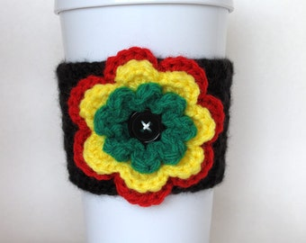 Crochet Rastafarian Flower Coffee Cup Cozy