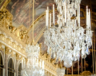 Versailles Chandelier Photo - Paris Photography - Vintage, Soft, Retro - Versailles Palace - Chandelier Photography - Hall of Mirrors
