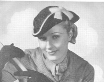 1930s Crochet Tricorne hat pattern PDF downloaded format
