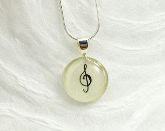 Treble Clef Necklace - Musical Note Necklace, Music Jewelry, Unique Treble Clef Pendant, Piano Recital Gift, Music Teacher Gift, Handmade