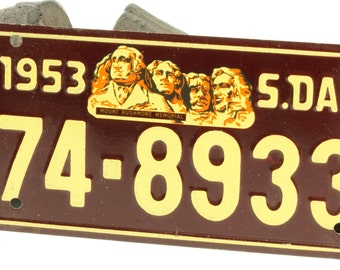 Vintage Burgundy and Ivory Bicycle License Plate For South Dakota 1953