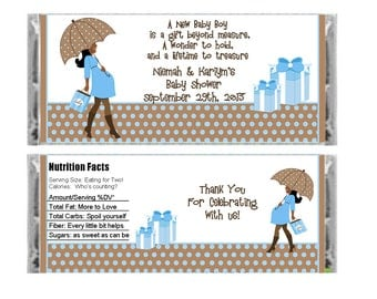 Personalized African American Baby Boy candy bar wrapper - Baby Shower Favor - set of 6
