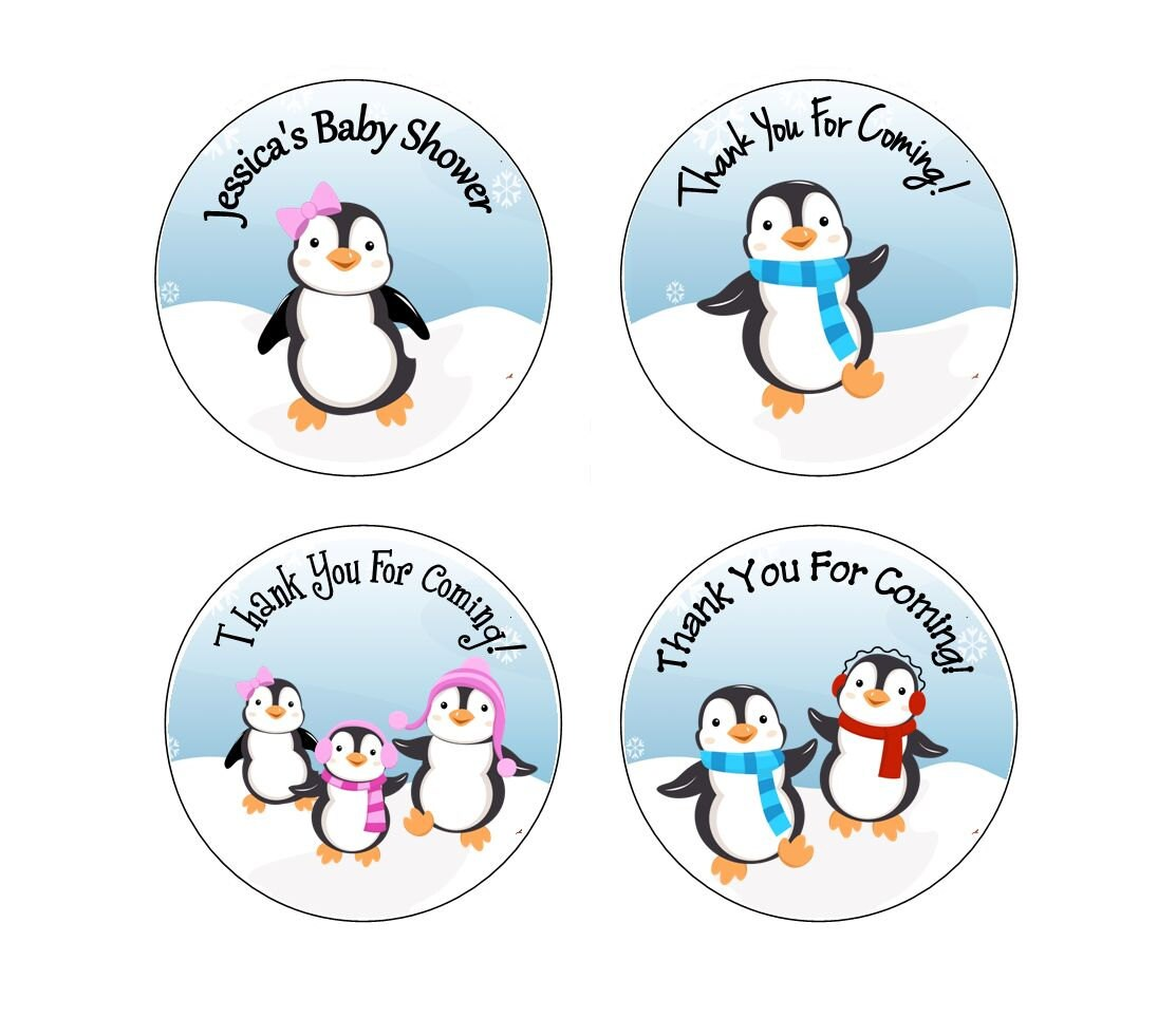 personalized penguin baby shower special occasion winter fun