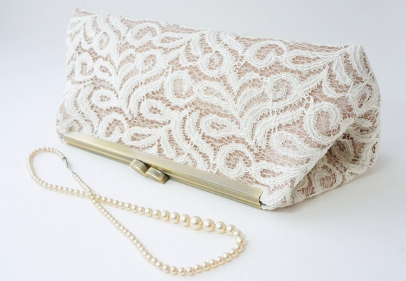 Romantic Ivory & Gold Bridal Clutch Purse - Old Hollywood Wedding - Evening, Bridesmaid Handbag - Includes Chain - Ready to Ship