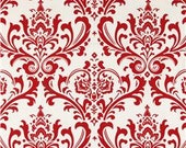 "Red and White Traditions Damask Fabric Remnant 12"" x 76"""