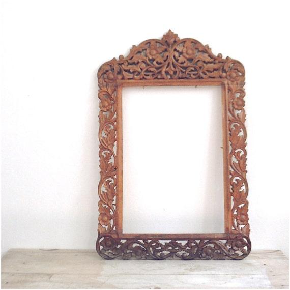 Vintage Large Bohemian Frame Wood Carved Ornate Floral India
