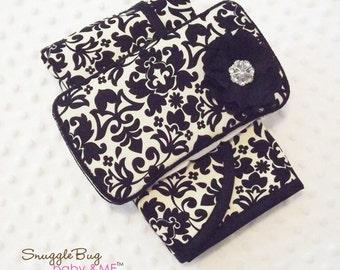 Designer Black Damask Diaper Wipe Case and Changing pad Set