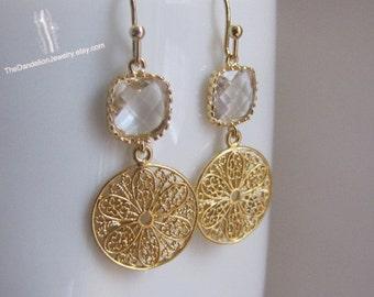 SALE 10% OFF: Glass Earrings Clear - Dangle Earrings Drop Earrings Filigree Earrings Gift Jewelry