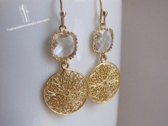 SALE, 10% OFF: Clear  framed glass drop earrings in gold, dangle earrings, drop earrings, chandelier earrings