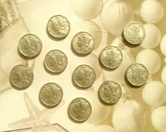 6 Silverplated Mercury Dime Charms