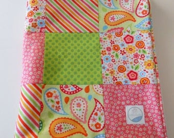 Minky Baby Girl Patchwork Blanket Quilt Riley Blake Green Pink Red--Made to Order