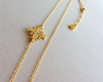 Jerusalem Cross Necklace in Sterling Silver (18k Yellow Gold Plating), Cross Jewelry
