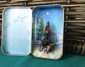 Pocket Christmas.  Miniature Christmas Scene from Recycled Mint Tin to bring Holiday Cheer