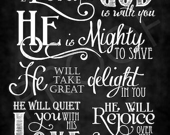 Scripture Art- Zephaniah 3:17 Chalkboard Style