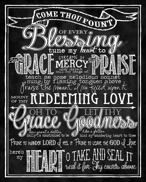"Mounted Art: ""Come Thou Fount"" Hymn chalkboard 16x20"