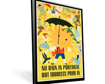 Vintage Travel Poster Portugal on 8x11.5 on Popmount Ready to Hang FREE SHIPPING