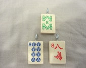 Lucky number 8 Mah Jong Pendant or Key chain Your choice of color