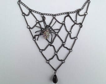 Bib Statement Necklace-Halloween-Black Statement Necklace-Spider Necklace-Goth-One of a Kind-Hand Made-Designs by Stalinda