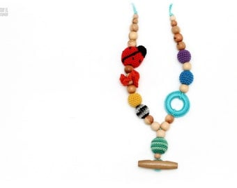 Nursing juniper necklace amigurumi ladybug toy wooden ring crochet wooden beads wooden button
