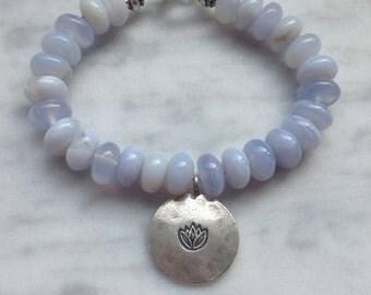 Blue Lace Agate Lotus Bracelet