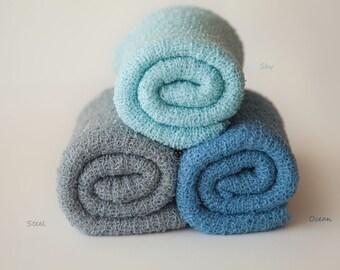 Newborn Knit Stretch Wrap, Newborn Photo Prop, Baby Stretch Wrap, Textured Newborn Wrap, RTS - Sky, Ocean, Steel