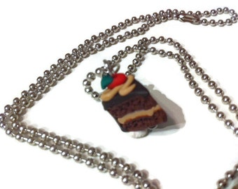 Chocolate Cake Necklace, cake slice charms, polymer clay charms, food jewelry, kawaii, gift ideas, miniature food, chocolate, cake necklace,