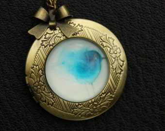 Necklace locket little blue bird