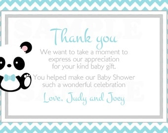 Teal or Pink Baby Panda -Baby Shower Thank you card chevron Lines- Printable File