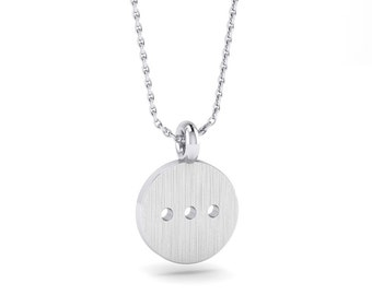 Circle Shape Sterling Silver Pendant, Circle with dots necklace, Simply Round Disc with tirple dots, Handmade by Gwen Park Jewellery Designs