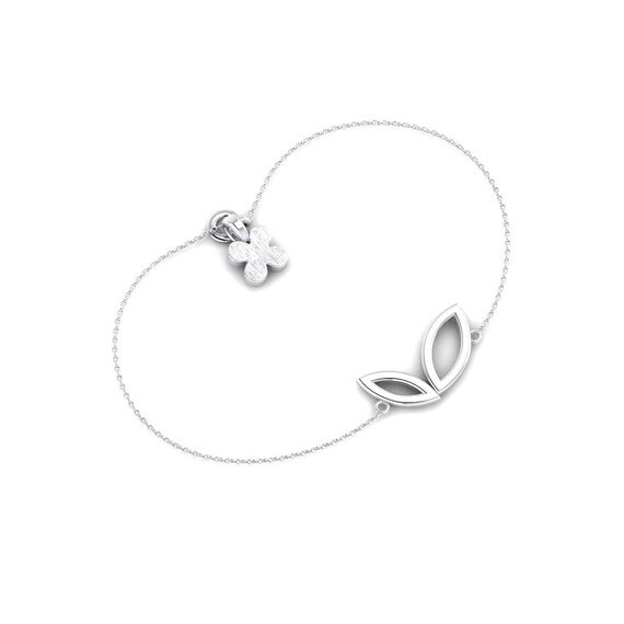 Heart leaf Shape Sterling Silver Bracelet, Unique Silver Jewelry, Nice Gift for any occasions, Handmade by Gwen Park Jewellery Designs