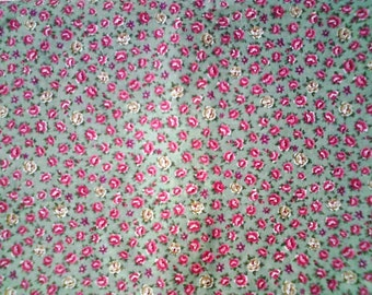 Floral Cotton ... Pink & Cream Roses on Green ... 2 3/4 Yards