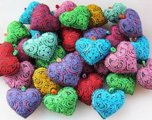 Embroidered Hearts Fabric Hearts Colored Hearts Heart Necklace Craft supplies Decorating Supplies heart Charm Needlecraft Supply 10pcs
