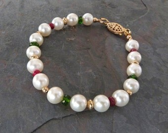 Quality White Pearl Bracelet with Genuine Red Rubies, Green Chrome Diopside, & Gold, Handmade