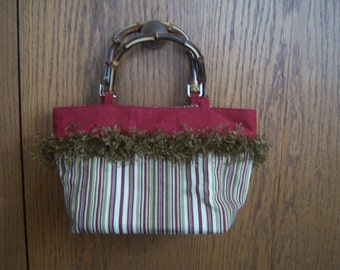 handmade striped burgandy purse with bamboo handles
