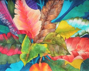 Art Original Watercolor Painting Tropical Hawaiian CROTON LEAVES