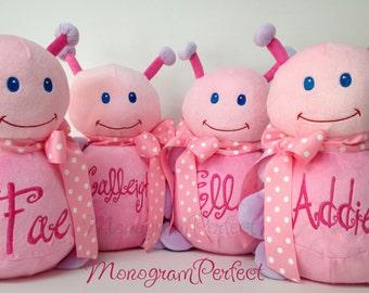 Personalized, Monogrammed Pink Ladybug Stuffed Animal, Soft Toy, Pillow