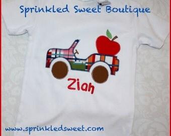 Boys Apple Madras Plaid Jeep Custom Monogram Applique Shirt Back To School First Day of School Fall Shirt or Onsie
