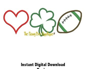 DD Love CLOVER Football Applique - Machine Embroidery Design - 3 Sizes - Instant Download
