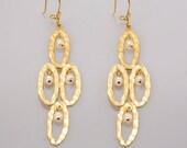 Oval  earring with pearls gold Earrings   bride earring one of a kind Jewelry Handmade dangle earrings Hammered Earrings