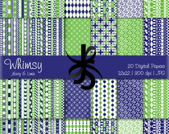 Digital Scrapbook Papers-Lime Green-Navy Blue-Whimsical Patterns-Whimsy-Patchwork-Preppy-Backgrounds-Cards-Crafts-Instant Download Clip Art