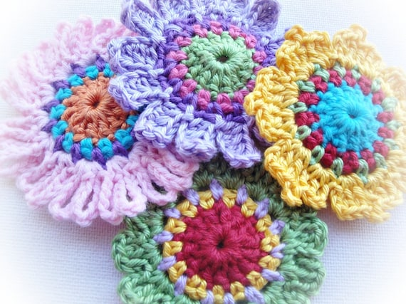 Quick Crochet Flower Pattern : Set of Quick Flowers Crochet Patterns