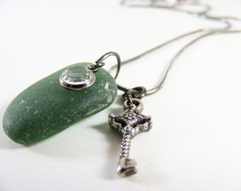 Green Seaglass Necklace with Swarovski Crystal and Antique Key Charm