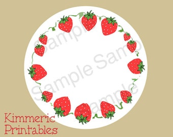 """2-1/2"""" Digital Canning Labels, Stickers Hang Tags,Gift Tags, Strawberries Downloadable JPG"""