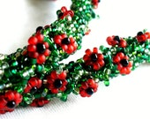 Beaded Red Poppy Necklace, Green Bead Crochet Rope with Red and Black Flowers, Field of Poppies, Flower Garland - Etsy UK Seller