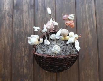 Hand made sea shell flower hanging wall basket