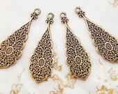 Antiqued Brass Oriental Floral Embossed Stampings Earring Drops Dangles - 4