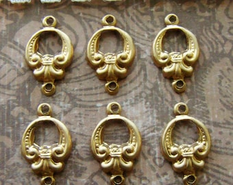 Victorian Fleur de Lis Raw Brass Connectors Round Brass Stampings - 6