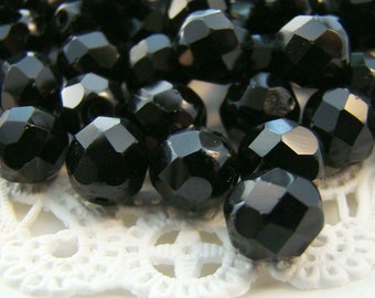 Czech Glass Faceted Opaque Jet Black 8mm Round Beads - 20
