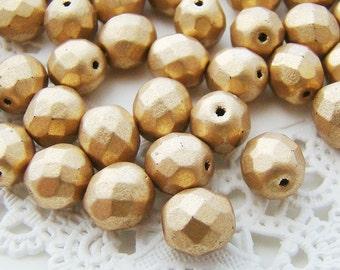 Czech Glass Faceted Matte Gold 8mm Round Beads - 20